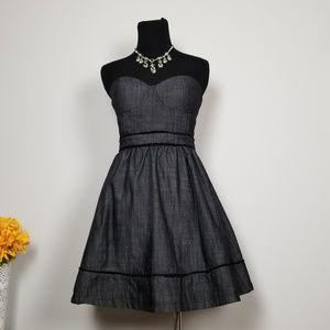 Black Denim Strapless Retro Babydoll Skater Dress